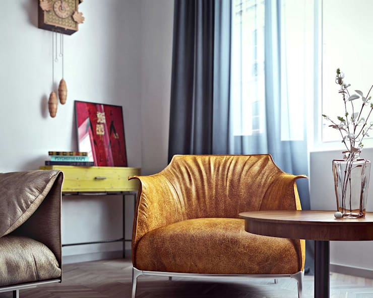 Квартира в Баку в скандинавском стиле: Гостиная в . Автор – ILKIN GURBANOV Studio