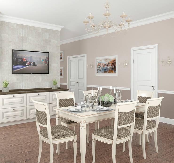 Интерьер кухни-столовой в частном доме: Столовые комнаты в . Автор – Yurov Interiors