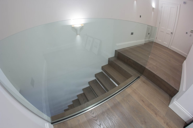 Straight Cantilever Staircase :  Corridor, hallway & stairs by Railing London Ltd