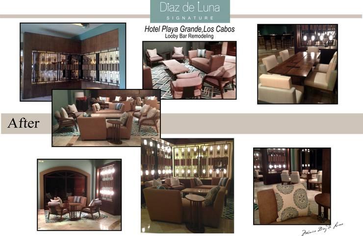 BEFORE & AFTER LOBBY BAR HOTEL PLAYA GRANDE, LOS CABOS BCS, MEXICO :  de estilo  por DIAZ DE LUNA SIGNATURE