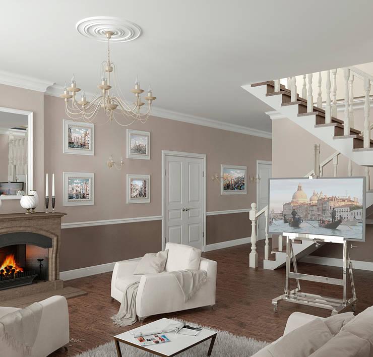 Интерьер гостиной в частном доме: Гостиная в . Автор – Yurov Interiors