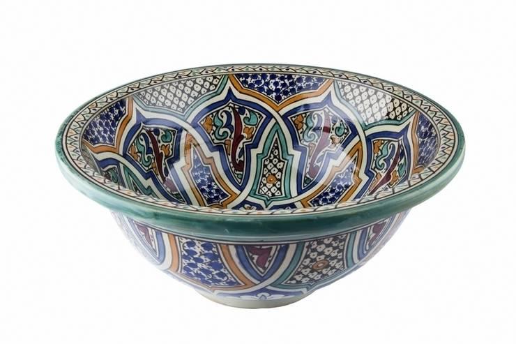 Mikhat - Umywalka ceramiczna z Maroka: styl , w kategorii Łazienka zaprojektowany przez Kolory Maroka,