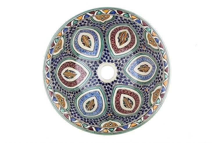 Mayma - Ręcznie malowana wzorzysta umywalka II: styl , w kategorii Łazienka zaprojektowany przez Kolory Maroka,