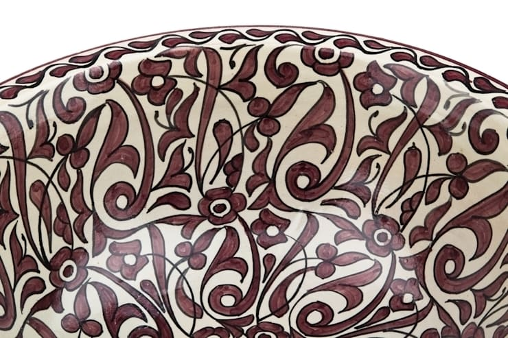 Feza - Ręcznie malowana wzorzysta umywalka : styl , w kategorii Łazienka zaprojektowany przez Kolory Maroka,