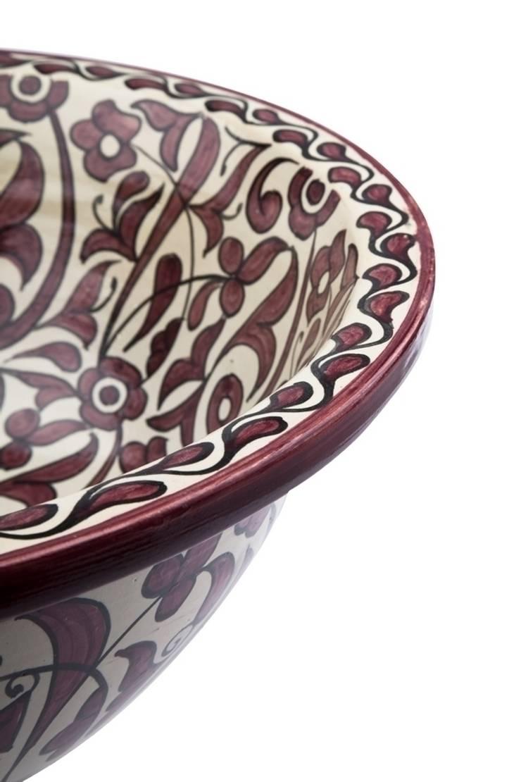 Feza - Ręcznie malowana wzorzysta umywalka : styl , w kategorii Łazienka zaprojektowany przez Kolory Maroka