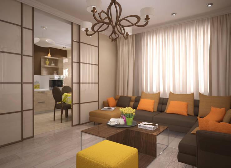 Квартира 65 кв.м. в Серебряных ключах: Гостиная в . Автор – Студия дизайна Виктории Силаевой