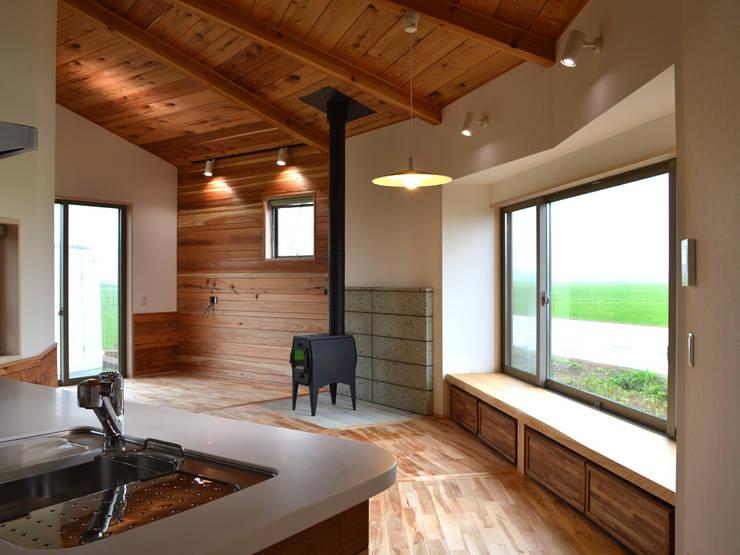 大郷の曲り家: 前見建築計画一級建築士事務所(Fuminori MAEMI architect office)が手掛けたリビングです。