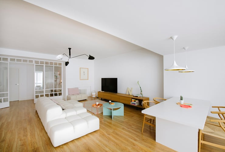 Vivienda zona Quevedo, Madrid: Salones de estilo moderno de nimú equipo de diseño