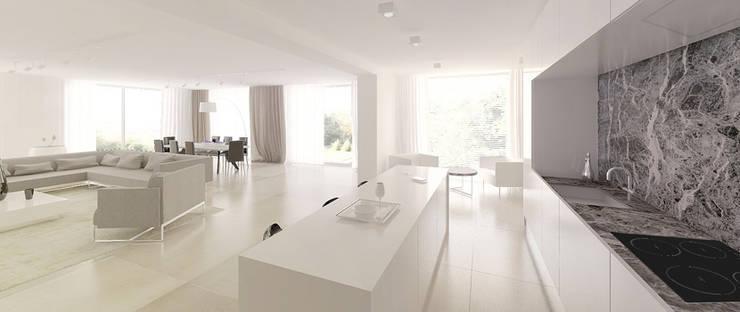 Widok z kuchni na salon : styl , w kategorii Kuchnia zaprojektowany przez Ajot pracownia projektowa
