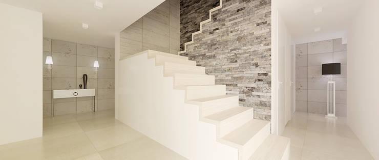 Widok na schody: styl , w kategorii Korytarz, przedpokój zaprojektowany przez Ajot pracownia projektowa