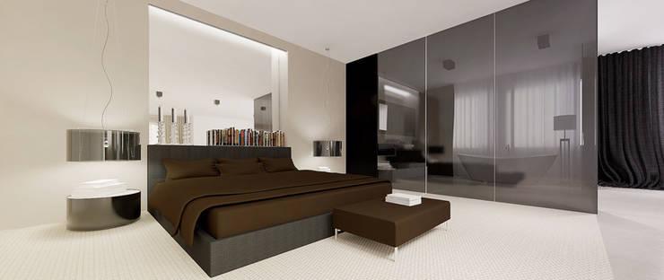 Widok na łóżko: styl , w kategorii Sypialnia zaprojektowany przez Ajot pracownia projektowa