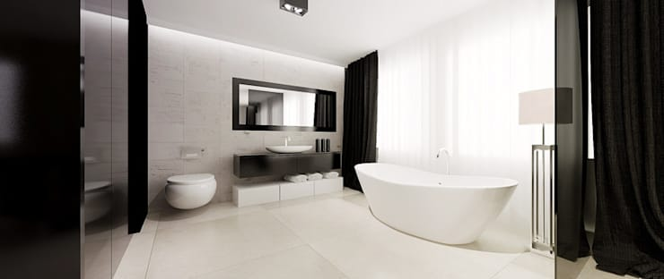 Łazienka w sypialni: styl , w kategorii Łazienka zaprojektowany przez Ajot pracownia projektowa