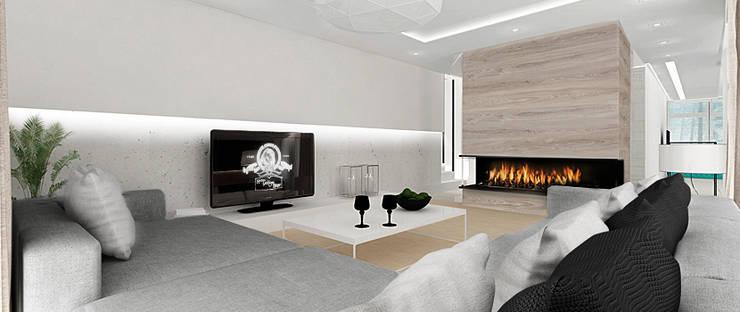 Salon - widok na kominek: styl , w kategorii Salon zaprojektowany przez Ajot pracownia projektowa