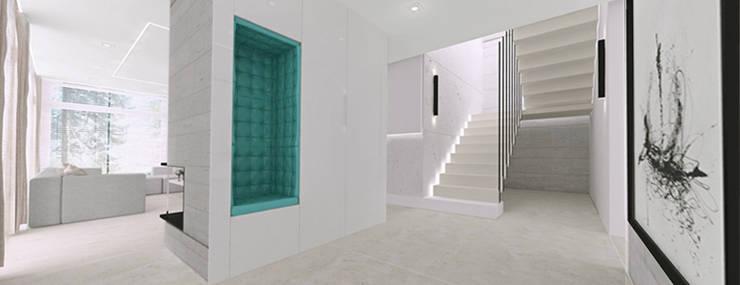 Hol - widok na schody : styl , w kategorii Korytarz, przedpokój zaprojektowany przez Ajot pracownia projektowa