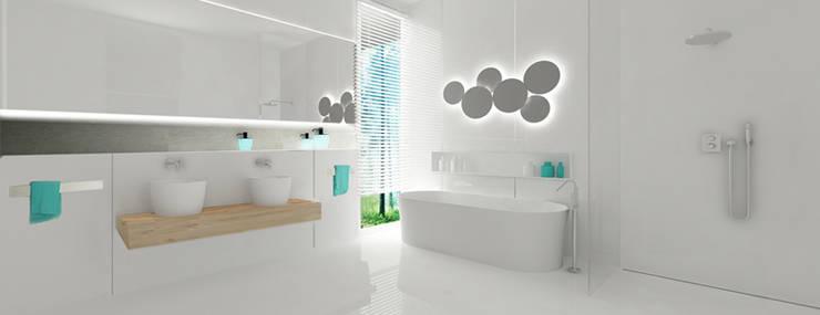 Łazienkka przy sypialni: styl , w kategorii Łazienka zaprojektowany przez Ajot pracownia projektowa
