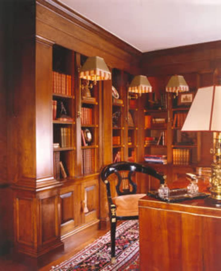 Mayfair Apartment - Library - bespoke fruit wood joinery:  Living room by Meltons