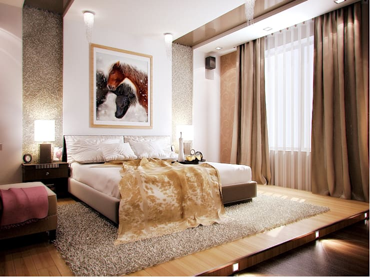 интерьер  коттеджа в современном стиле: Спальни в . Автор – архитектор-дизайнер Алтоцкий Михаил (Altotskiy Mikhail)
