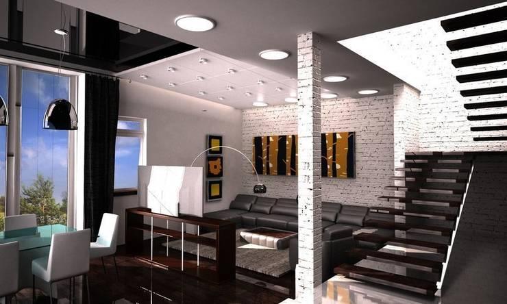 Студия в стиле лофт: Гостиная в . Автор – DS Fresco
