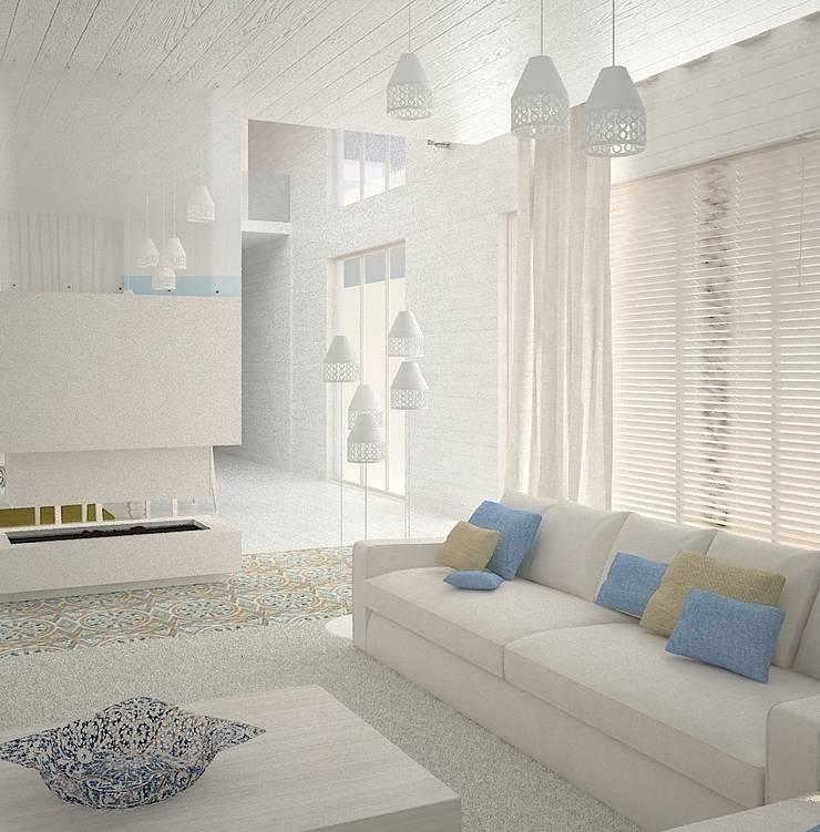 Гостиная в Скандинавском стиле с элементами востока: Гостиная в . Автор – DS Fresco, Скандинавский
