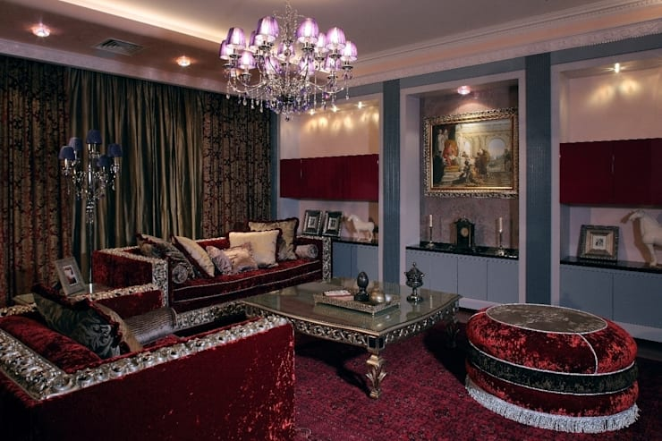 Пурпурное  настроение: Гостиная в . Автор – Studio B&L