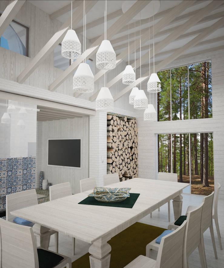 Гостиная в Скандинавском стиле с элементами востока: Столовые комнаты в . Автор – DS Fresco, Скандинавский