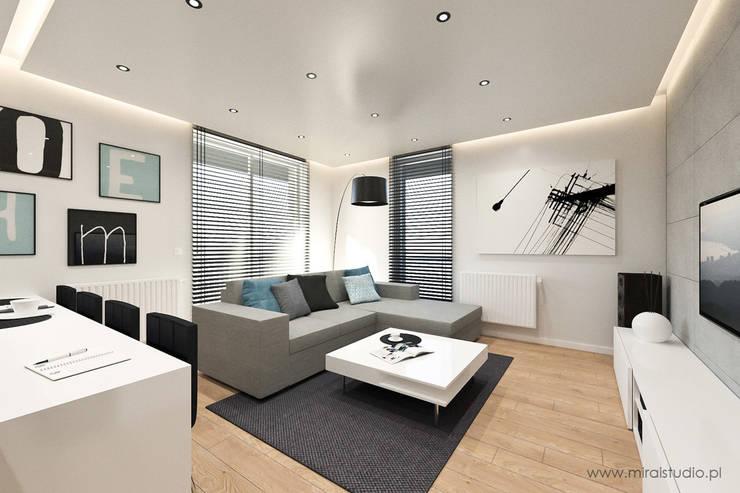 mieszkanie – Kraków, Czyżyny – wizualizacja: styl , w kategorii Salon zaprojektowany przez MIRAI STUDIO