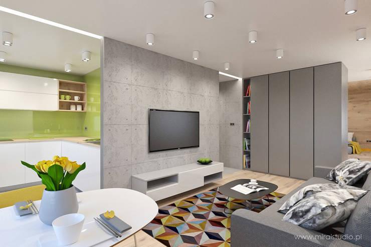 mieszkanie – Zakopane, Słoneczna – wizualizacja: styl , w kategorii Salon zaprojektowany przez MIRAI STUDIO