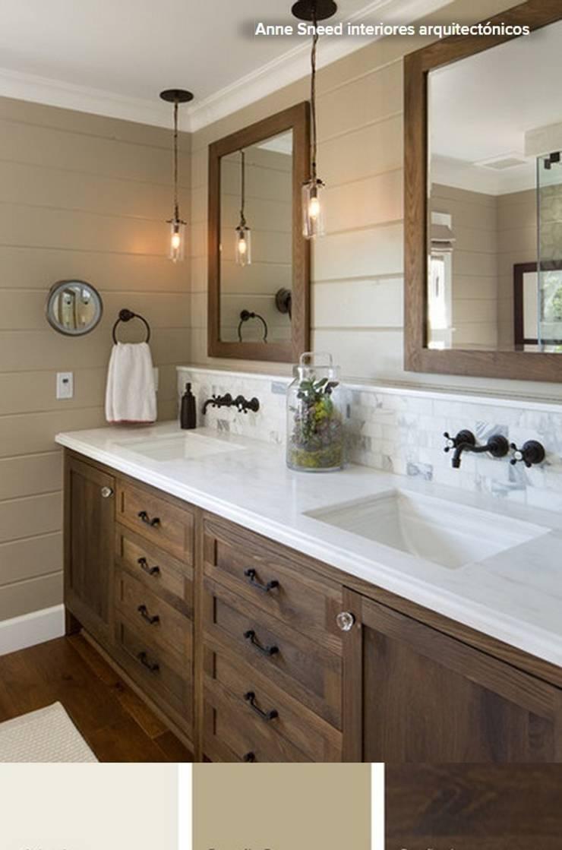 Cuarto de baño en color tabaco y blanco: Baños de estilo  de La brujula Feng Shui