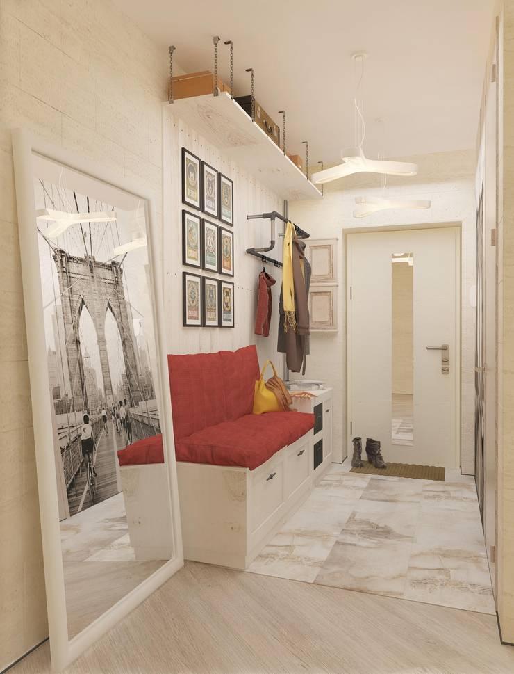 Современная квартира для молодой пары: Коридор и прихожая в . Автор – Katerina Butenko, Лофт
