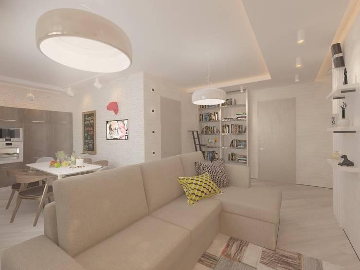 Современная квартира для молодой пары: Гостиная в . Автор – Katerina Butenko, Лофт