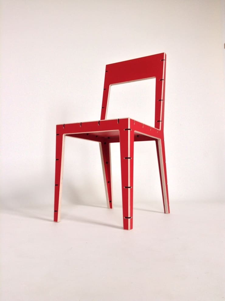 CABLE chair red:  Dining room by AH designs