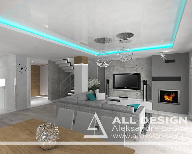 Projekt wnętrz domu w Kaliszu: styl , w kategorii Salon zaprojektowany przez All Design- Aleksandra Lepka