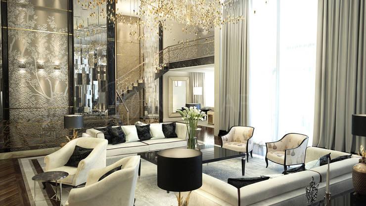 Wheatley Residence, NY, USA: Гостиная в . Автор – NEUMARK