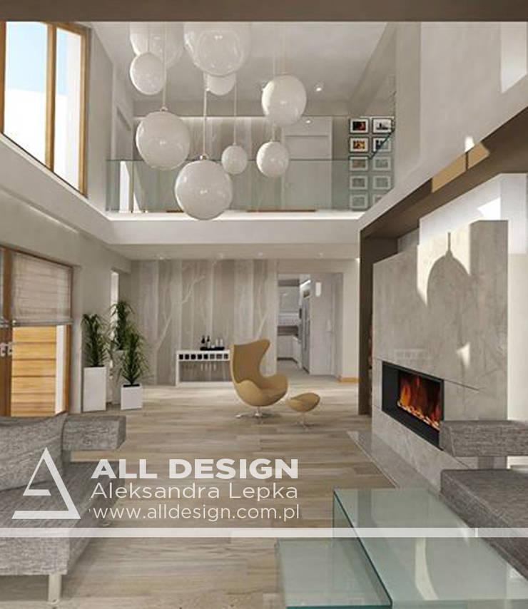 Projekt wnętrz domu w Kaliszu: styl , w kategorii Salon zaprojektowany przez All Design- Aleksandra Lepka,