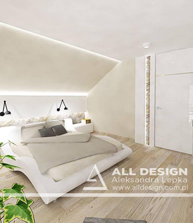 Projekt wnętrz domu w Kaliszu: styl , w kategorii Sypialnia zaprojektowany przez All Design- Aleksandra Lepka,