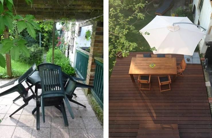 Dunkle Pergola und Plastikmöbel sind  natürlichem Holz und erfrischender Weite auf der Terrasse gewichen:   von berliner landjungs