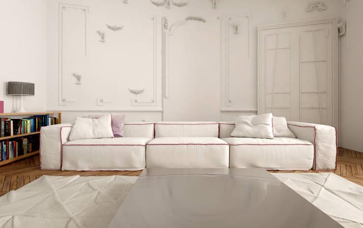 110 m² découpe Haussmann: Salon de style  par New Home Agency