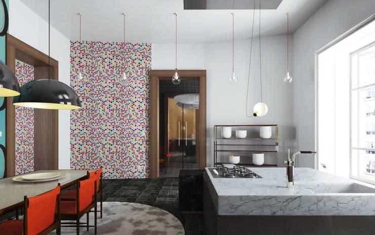 99m² fashion vintage : Cuisine de style de style Moderne par New Home Agency