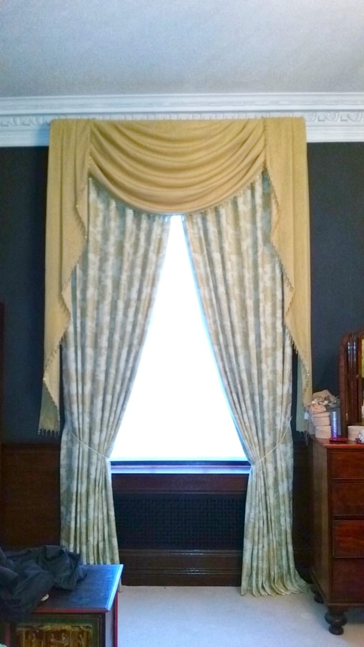 After: Puddled Swags and Tails Curtains:   by Alf Onnie