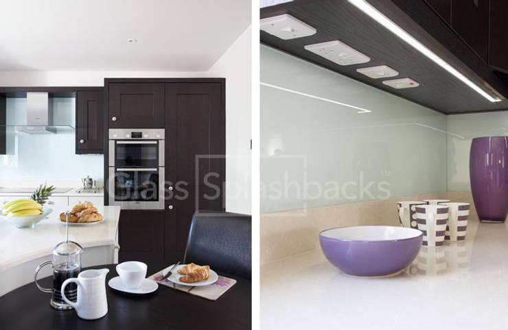Glacier Glass Splashback in tone-tone shaker kitchen. :  Kitchen by DIYSPLASHBACKS