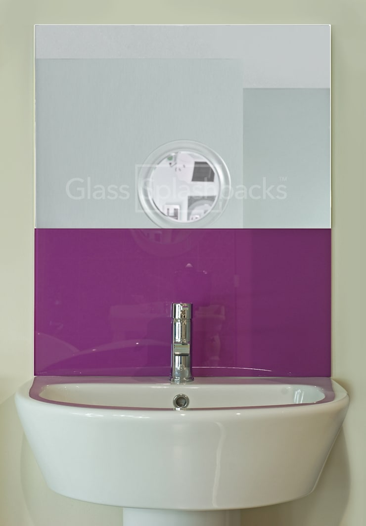 Purple Glass Sink Splashback:  Bathroom by DIYSPLASHBACKS