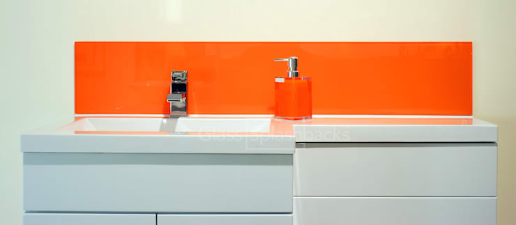 Orange Glass Sink Splashback:  Bathroom by DIYSPLASHBACKS