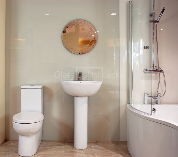 Cream Glass Wetroom:  Bathroom by DIYSPLASHBACKS
