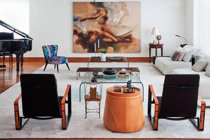 "Apto. Jardim Paulistano - ""Atemporal"": Salas de estar modernas por AMMA PROJETOS"