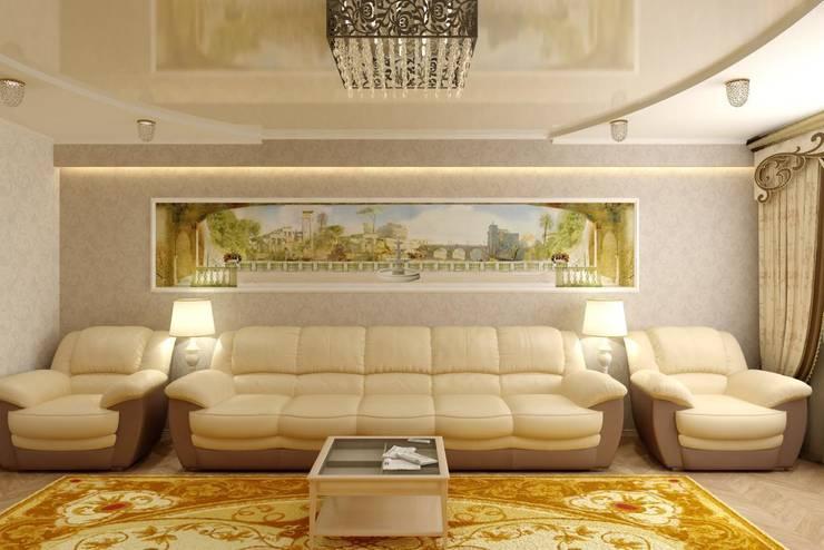 Дизайн гостиной с панорамной фреской: Гостиная в . Автор – Дизайн студия 'Exmod' Павел Цунев