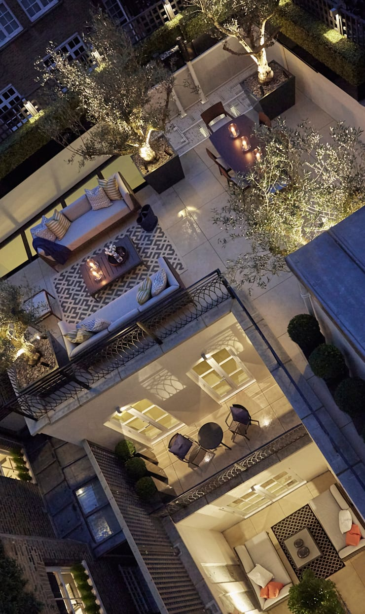 Belgravia Roof Terrace photo showing all three terraces in one :   by FORK Garden Design