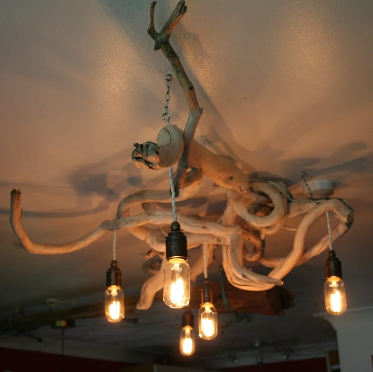 Driftwood chandeliers:  Household by Julia's Driftwood