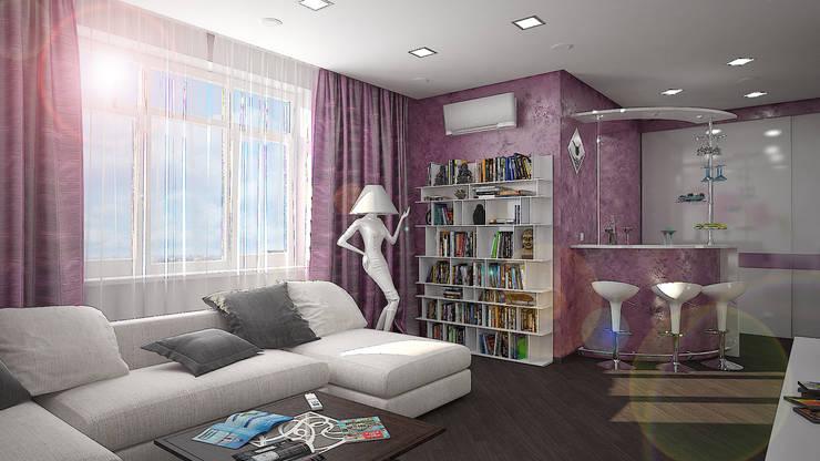 Гостиная в . Автор – дизайн-студия 'КВАДРАТ'