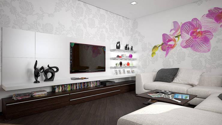 Квартира в ЖК «ПРЕМЬЕР» г. Кривой Рог УКРАИНА: Гостиная в . Автор – дизайн-студия 'КВАДРАТ'