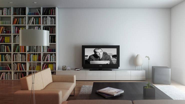 Studio di arredo per una abitazione privata - render: Soggiorno in stile  di amorosodesign
